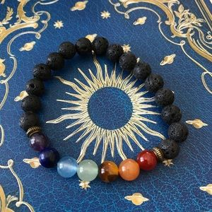 Lava stone chakra semi precious bracelet holistic
